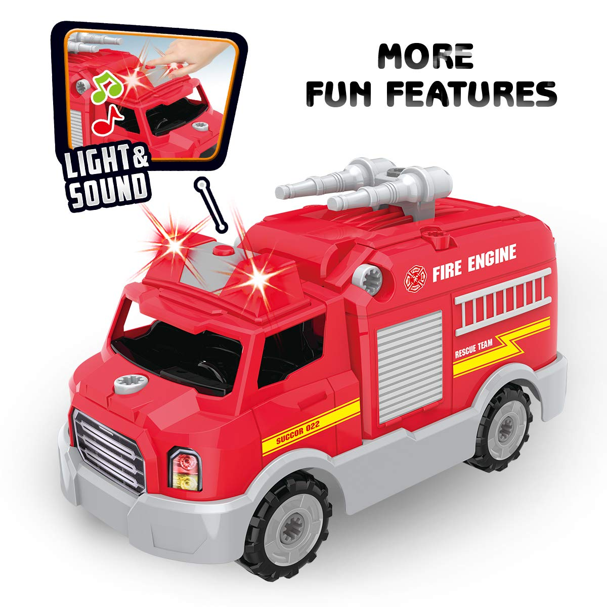 REMOKING STEM Learning Take Apart Toy for Boys & Girls, Build Your Own Car Toy Fire Truck Educational Playset with Tools and Power Drill, DIY Assembly Car with Realistic Sounds & Lights (3+ Ages) by REMOKING (Image #4)