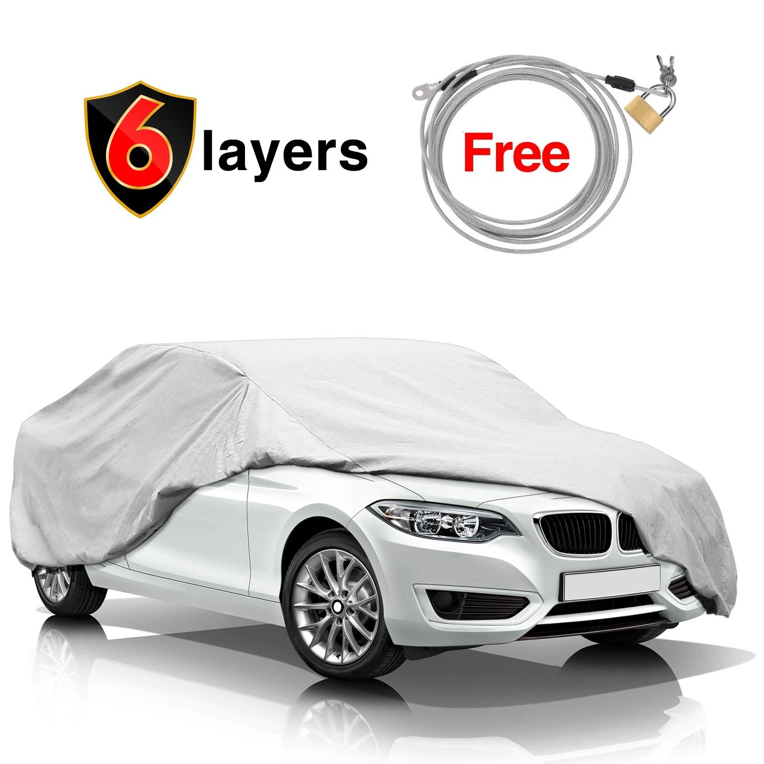 KAKIT 6 Layers Car Cover Snow Cover - Durable Windproof Waterproof for Indoor Outdoor, All Weather Cover for Car Automobiles, Windproof Ribbon & Anti-theft Lock, Fits 199' - 229' Fits 199 - 229