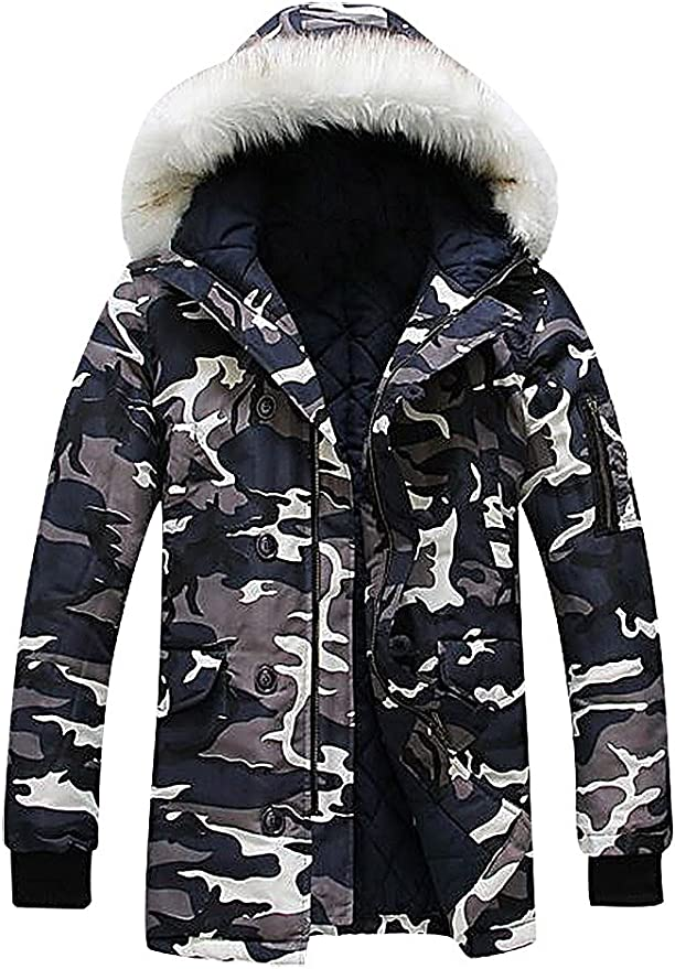 CELINO Mens Casual Padded Hooded Winter Jacket Fitted Full Zipped Puffer Blue X-Large