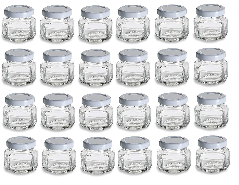 2731333e7d60 Nakpunar 24 pcs 1.5 oz Oval Hexagon Glass Jars with White Lids - 45ml