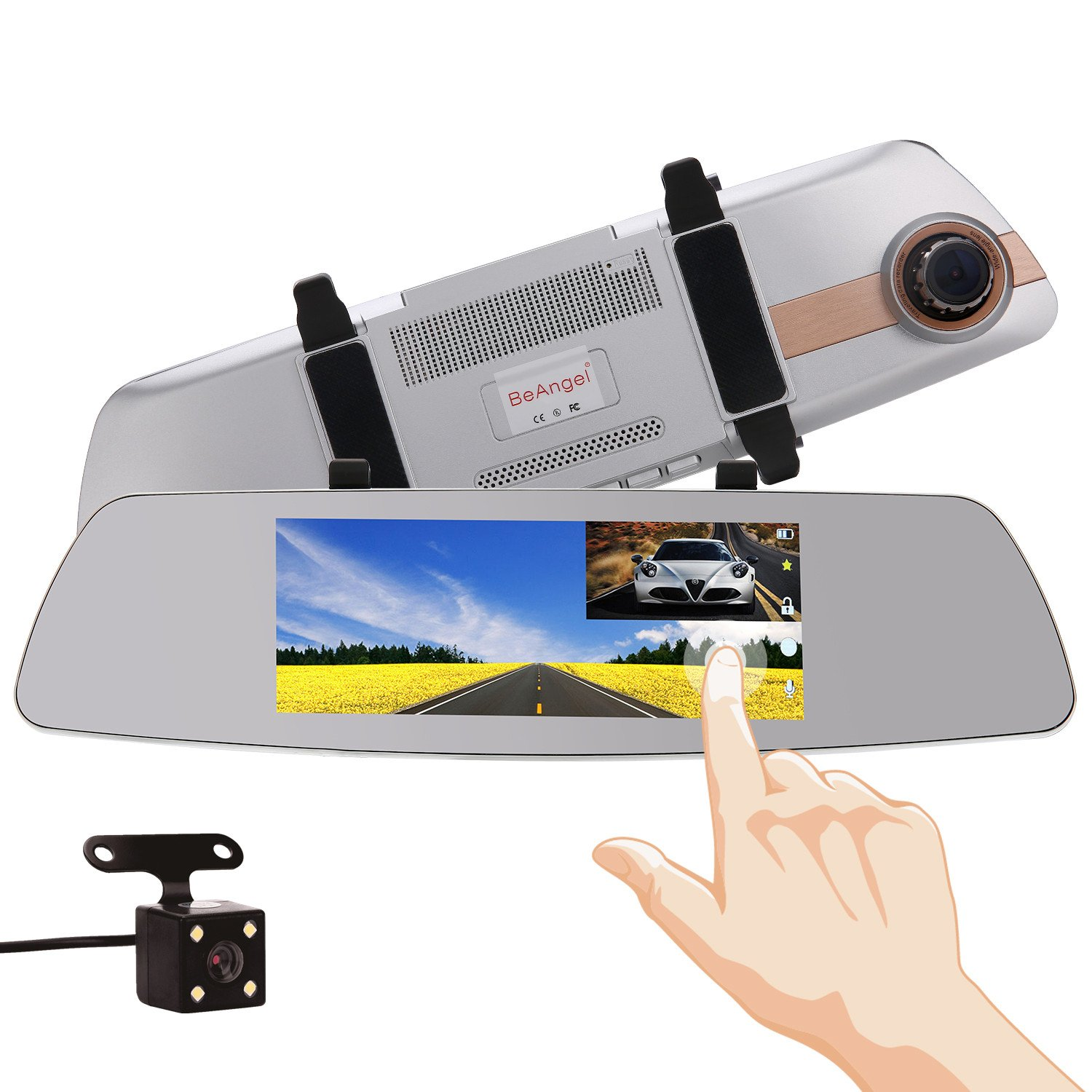 7 Inch Touch Screen Car Camera Rearview Mirror 7'' Dash DVR Cam Front and Rear Dual Lens Night Vision Video Recorder Reversing Backup Camera