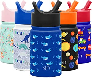 Simple Modern 10oz Summit Kids Water Bottle Thermos with Straw Lid - Dishwasher Safe Vacuum Insulated Double Wall Tumbler Travel Cup 18/8 Stainless Steel Shark Bite