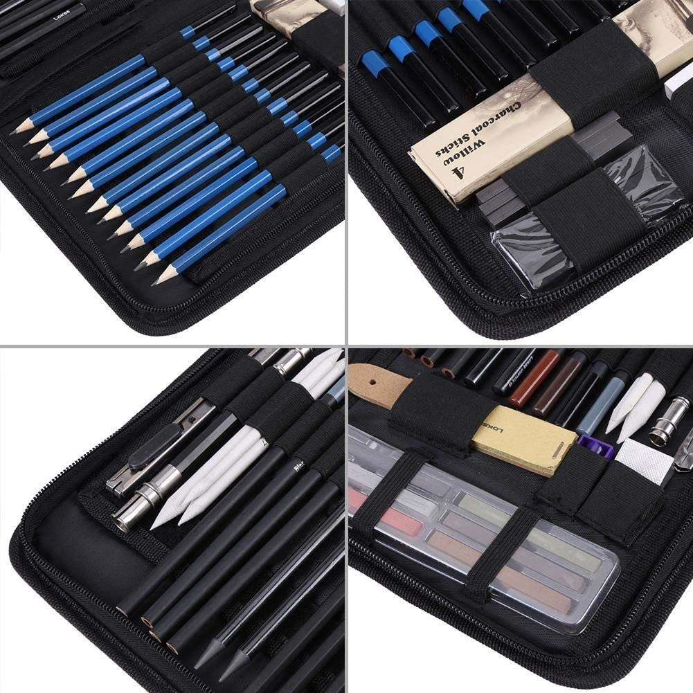 48PCS Art Sketching Pencils Professional Drawing Shading Kit Beginners Artist Art Painting Tool Set with Portable Carry Bag