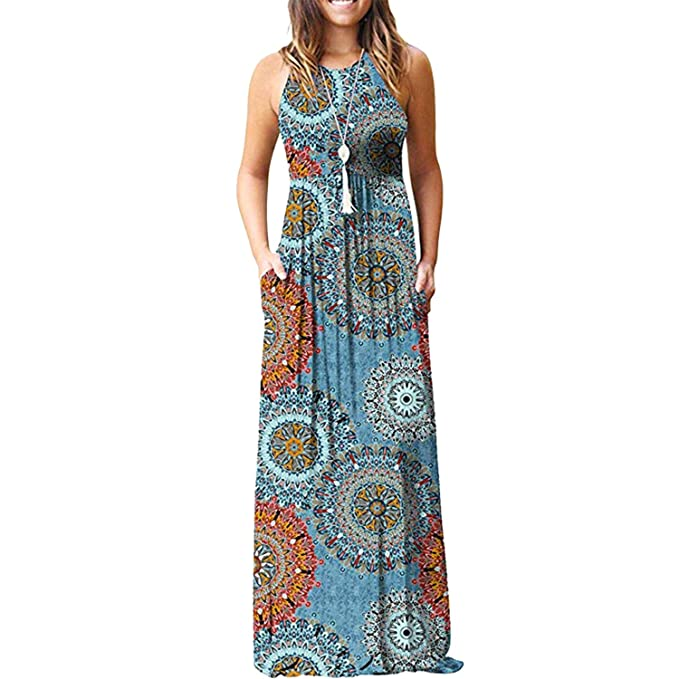 Amazon.com: Maxi vestidos para mujer sin mangas casual ...
