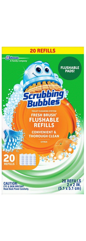 Scrubbing Bubbles Toilet Fresh Brush Flushable Refills, Citrus Scent, 20 Count