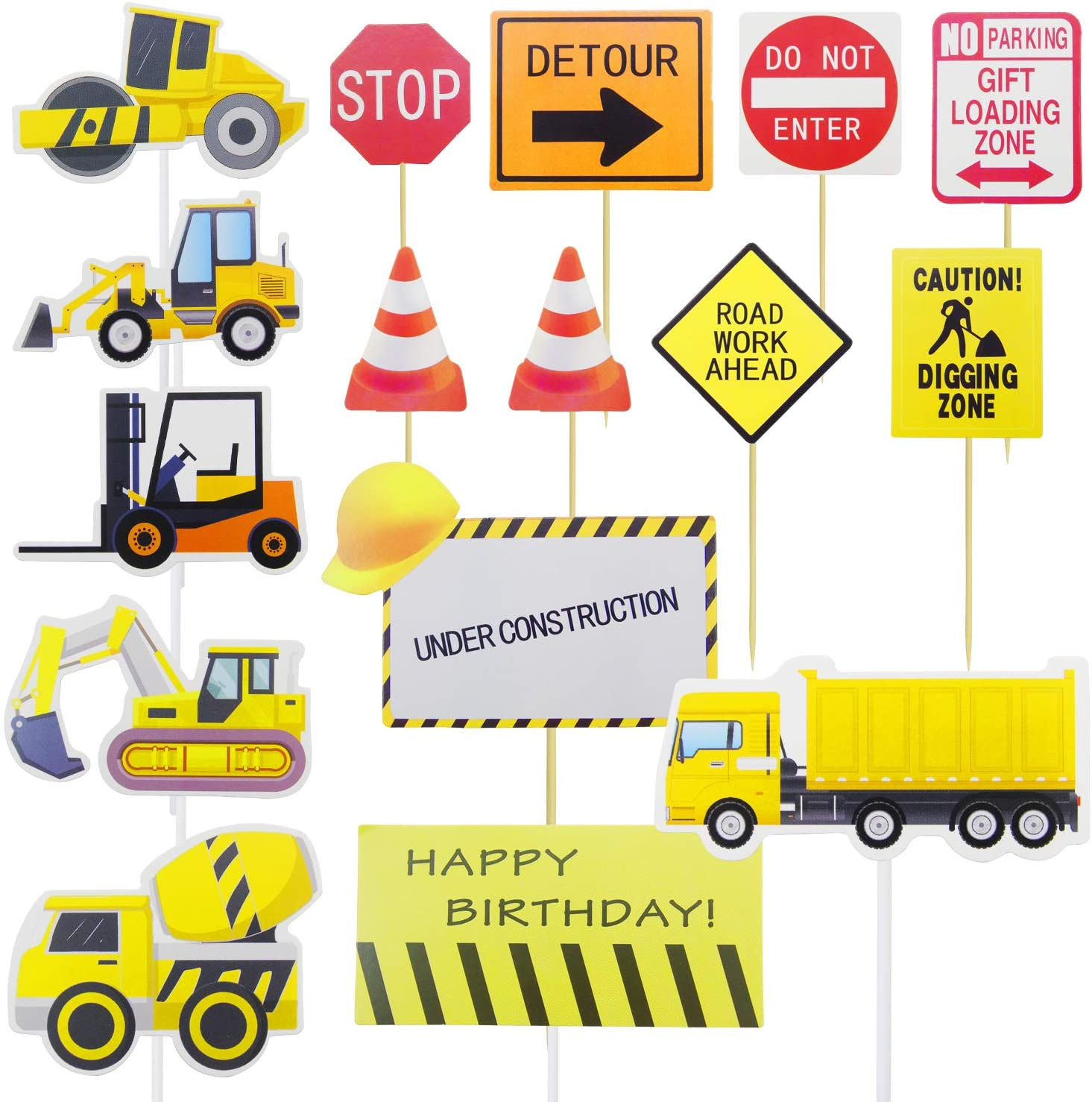 45 Count(Pack of 6) Construction Cupcake Toppers Picks Vehicle Cupcake Toppers Picks Dump Truck Excavator Tractor Cake Topper Party Cake Cupcake Decoration