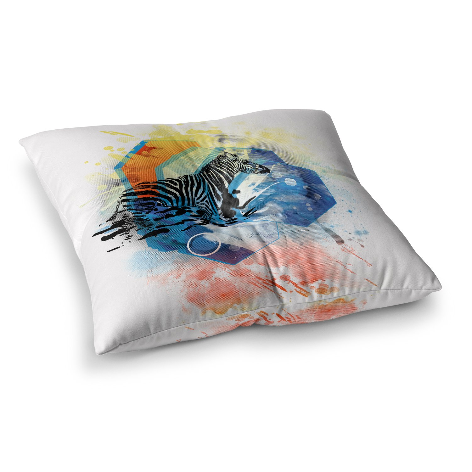 Kess InHouse Frederic Levy-Hadida Walk Off The Colors Multicolor Zebra 23 x 23 Square Floor Pillow