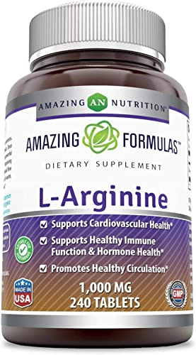 Amazing Formulas L-Arginine – 1000 Mg, 240 Tablets Non-GMO,Gluten Free – Supports Cardiovascular Health – Supports Immune Function – Promotes Healthy Circulation.