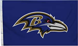 Fremont Die NFL Baltimore Ravens 3' x 5' Flag with Grommets, 3 x 5-Foot, Logo