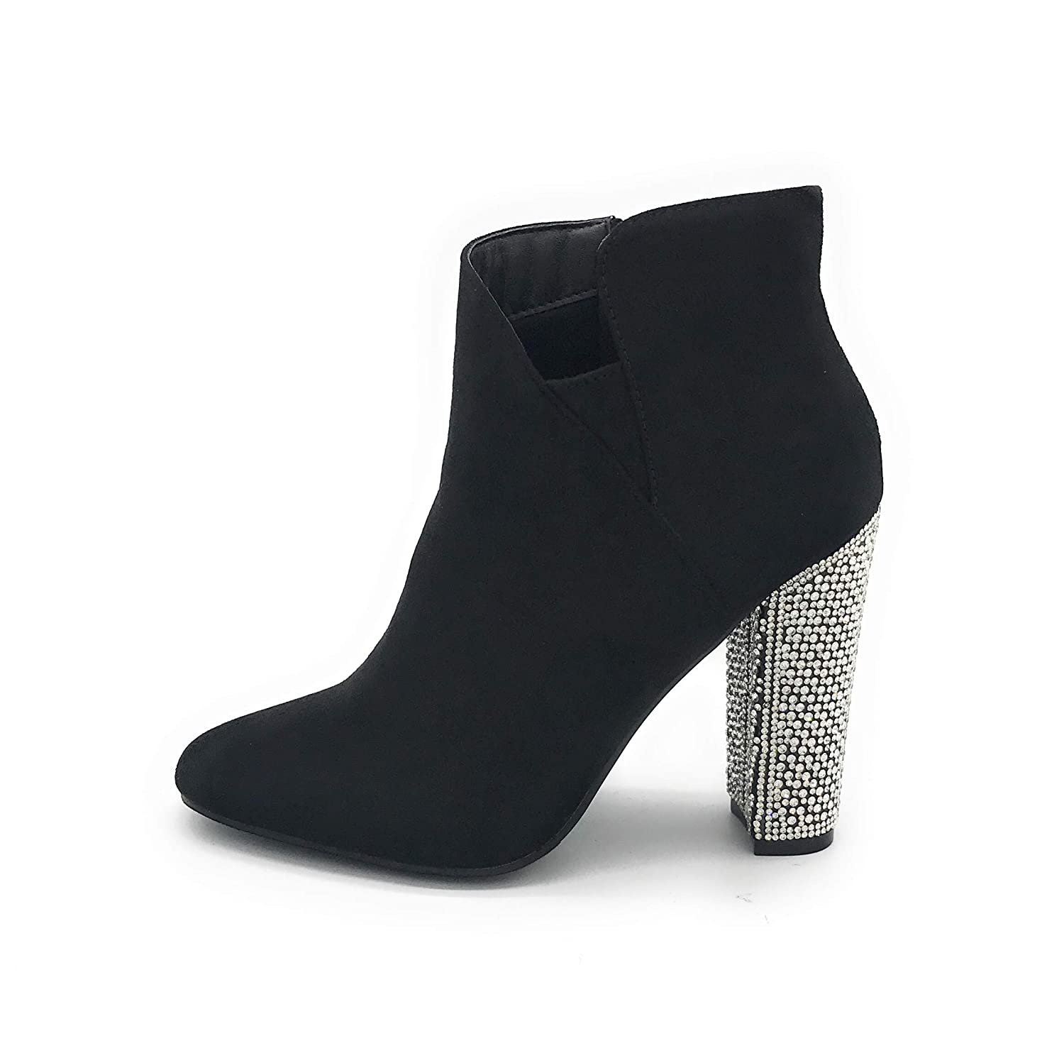 03black J Mark EASY21 Women Fashion Ankle Rhinestone Boots Casual Short Bootie shoes
