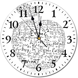 Yeeboo Educational 10 Inch Round Wall Clock,Equations and Formulas in The Shape of an Apple Learning Knowledge Student Easy Read Clock for Home Office Classroom,Black White