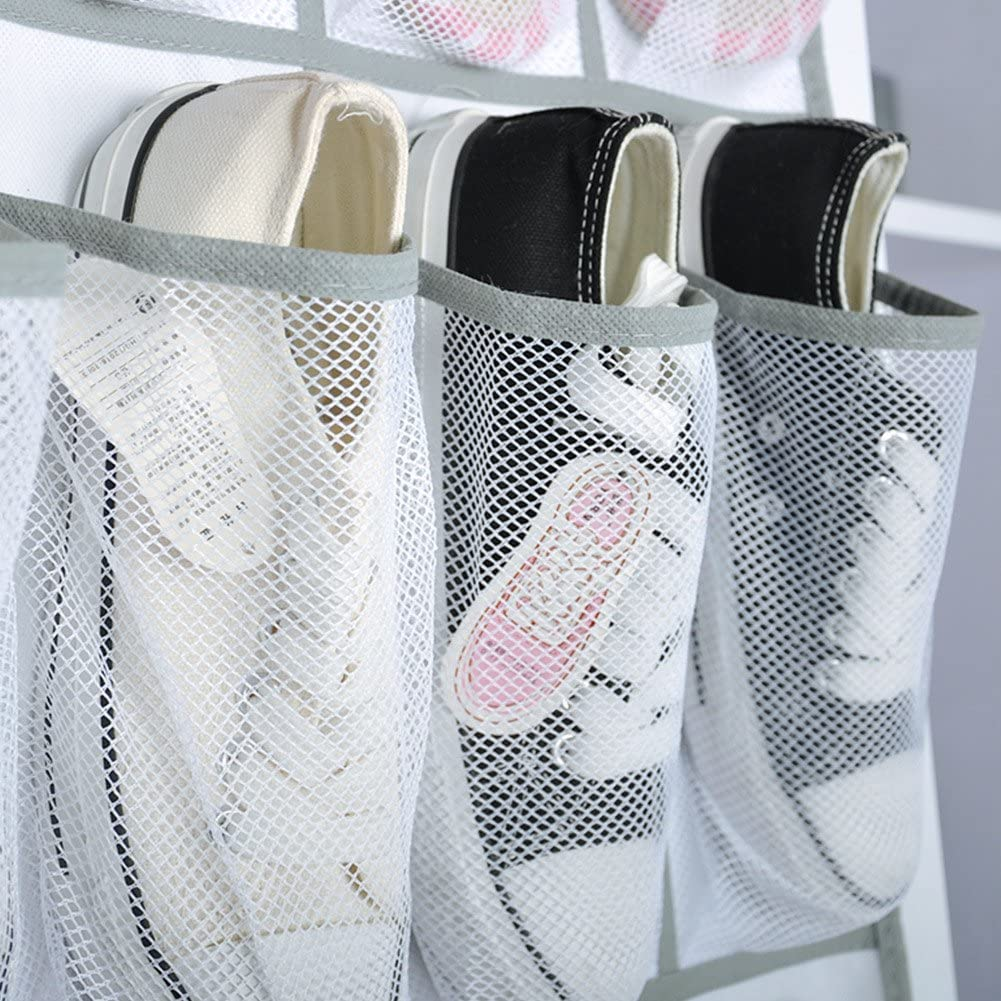 ANPI Door Shoe Organizer, Hanging Over the Door Storage Bag with 24 Large Mesh Pockets for Shoes Clothes Cosmetics, Durable Sturdy Portable Folding White