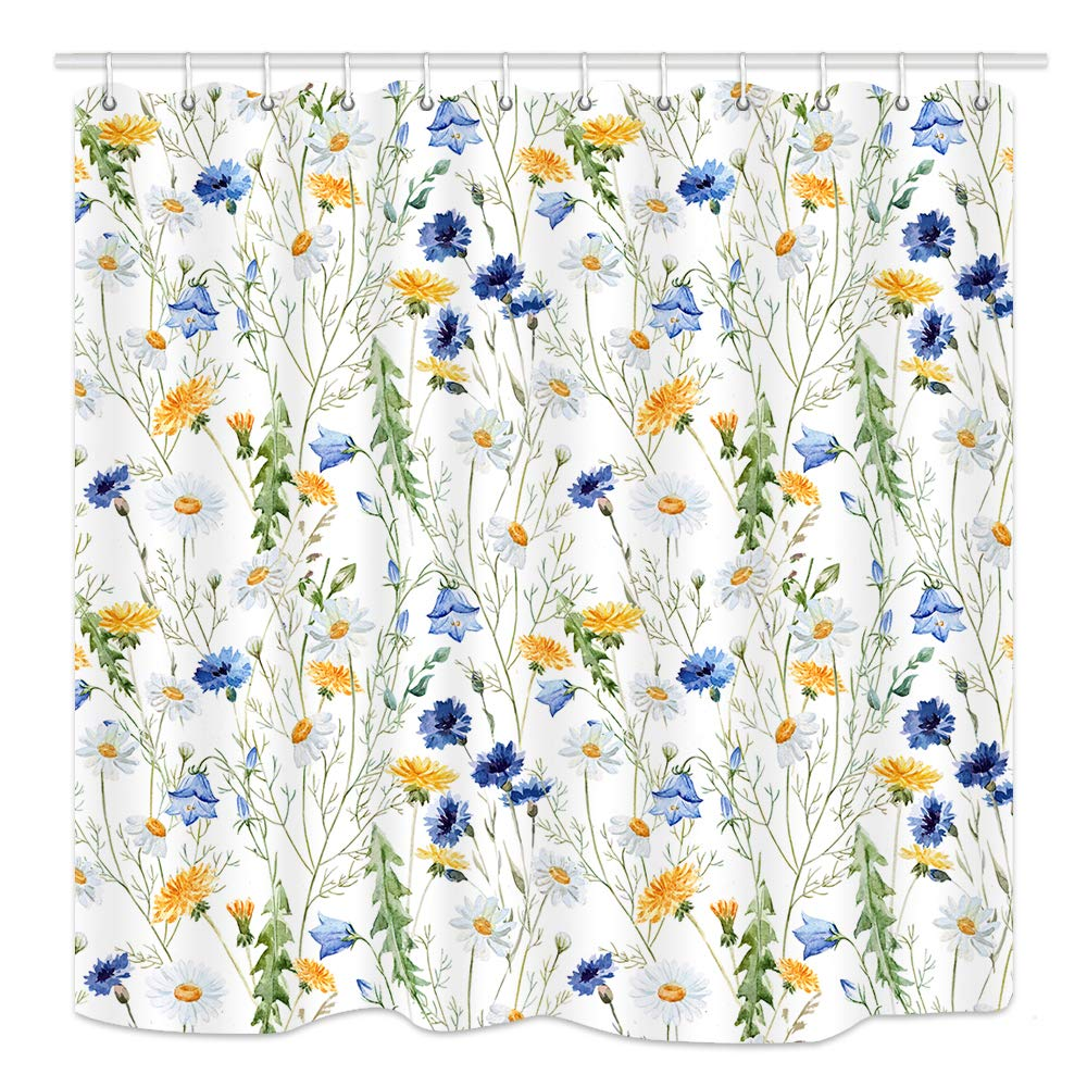 KOTOM Flowers Wallpaper Shower Curtain for Bathroom, Spring Garden Floral Plants with Chrysanthemum and Leaves, Fabric Bath Curtain Mildew Resistant Waterproof, Curtains Rings Accessories, 69X70 in