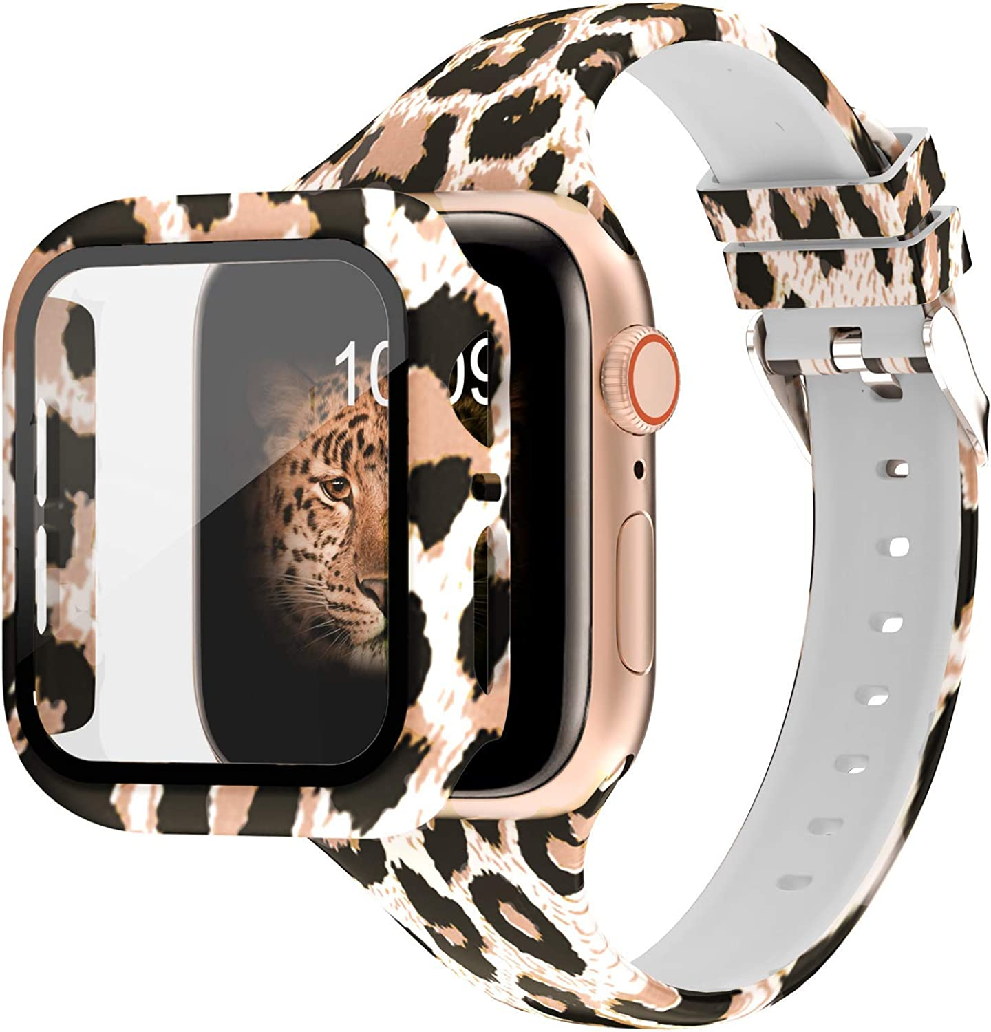 DABAOZA Compatible for Apple Watch Band 38mm with Case, Leopard Silicone Band Fadeless Pattern Thin strap with Full Around Screen Protector Bumper Case Cover for iWatch Series 3/2/1. (Leopard,38mm)