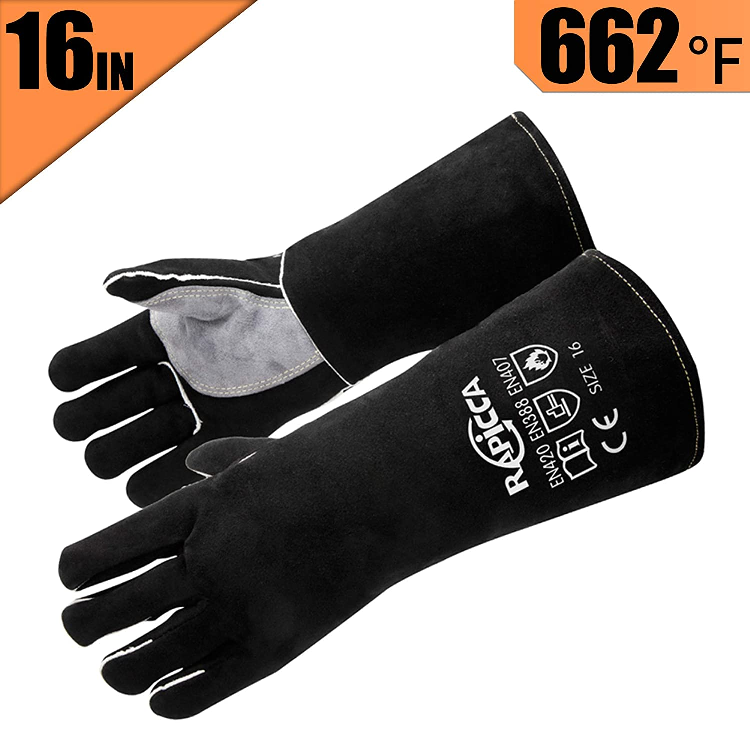 RAPICCA Extreme Heat Resistant BBQ Gloves, Food Grade Kitchen Oven Mitts – Fire Resistant Oven Gloves with Cut Resistant,Cooking Hot Gloves for Grilling, Cutting,Baking,Fire Gloves for Fireplace 16in
