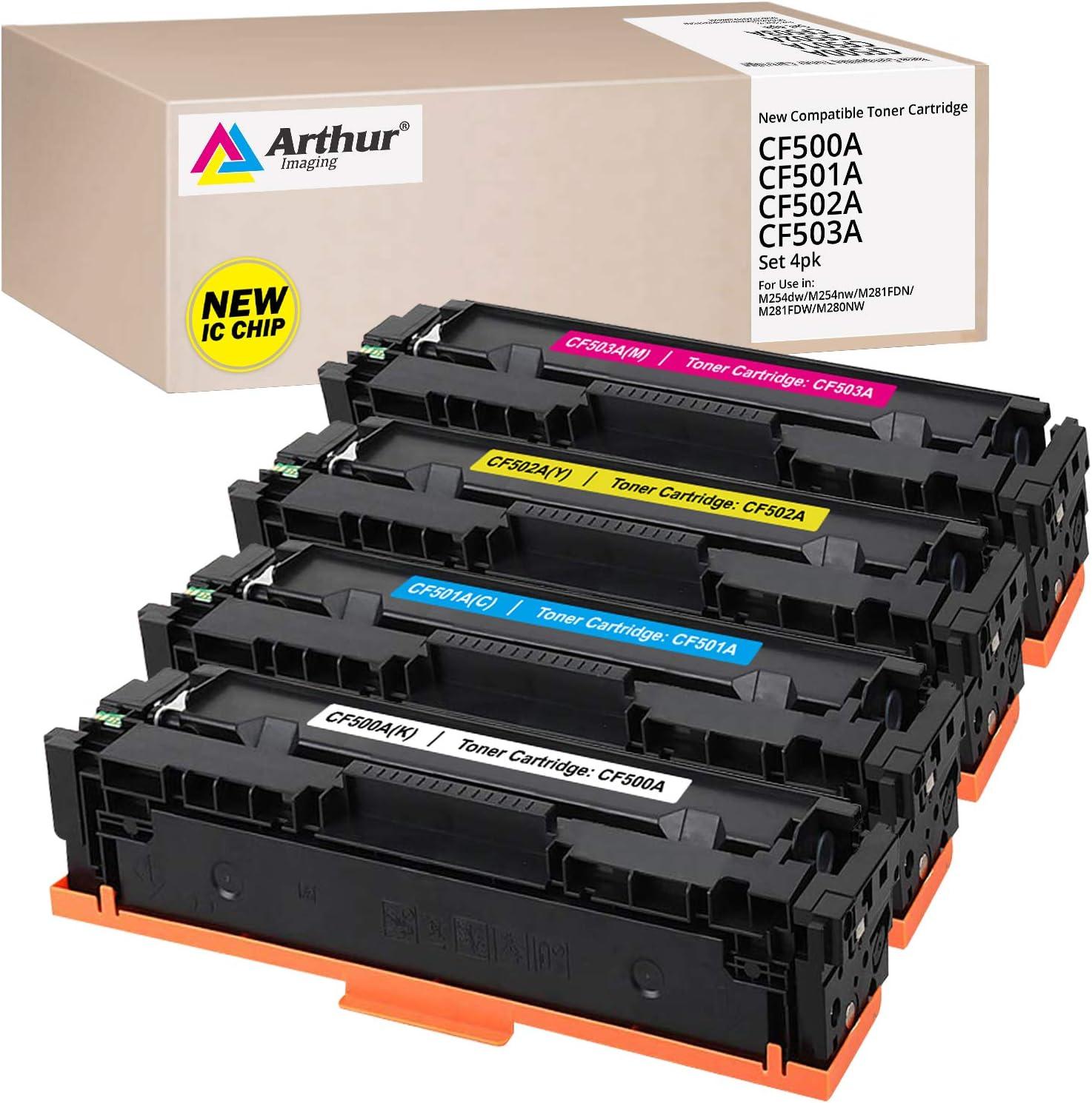 Arthur Imaging Compatible Toner Cartridge for HP 202X CF500A CF500X 202A HP M281fdw M254dw HP Color Laserjet Pro MFP M281fdw M281cdw M254dw M254dn M254nw M280 M281 CF500X CF501X CF502X CF503X Printer