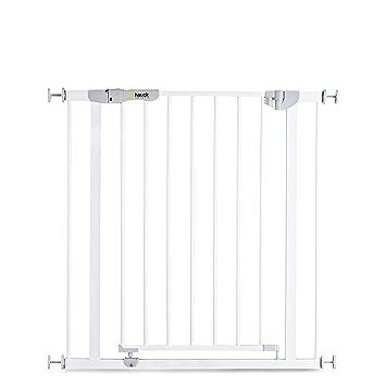 Hauck Autoclose N Stop - Puerta de seguridad para escaleras y puertas, magnética, cierre automático, indicador visual, 75-80 cm, sin taladrar, hierro, ...