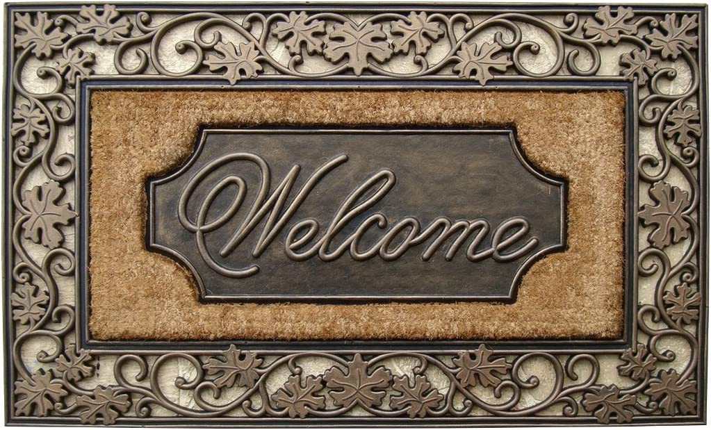 "A1 Home Collections Door Mat - Welcome - Floral Rubber and Coir Large Heavy Outdoor Mat Doormat, 23"" x 38"", Bronze"