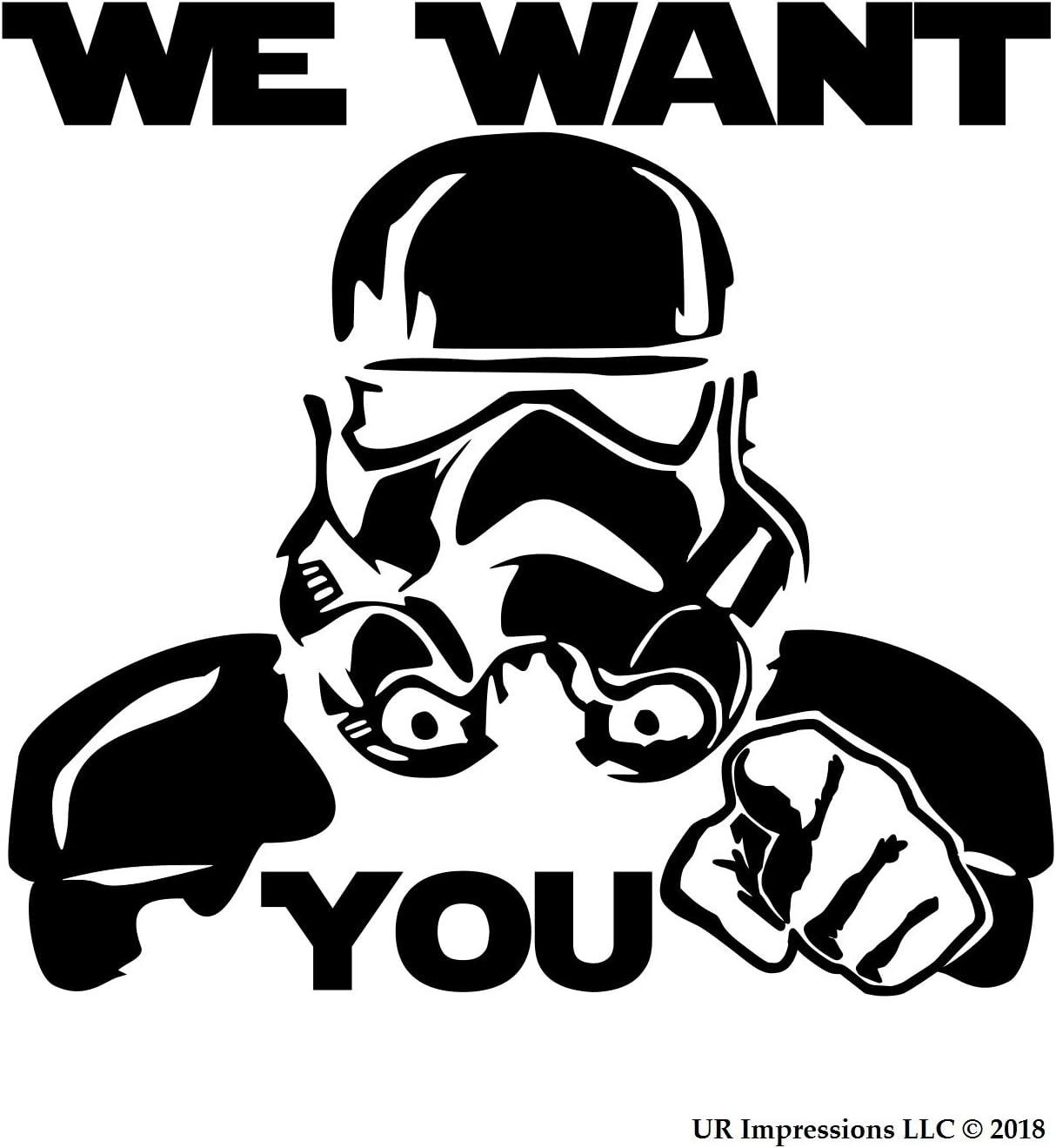 UR Impressions Blk We Want You - Storm Trooper Recruitment Decal Vinyl Sticker Graphics for Cars Trucks SUV Vans Walls Windows Laptop|Black|5.5 X 5.3 Inch|URI210-B