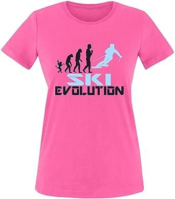 EZYshirt® Ski Evolution Damen Rundhals T-Shirt