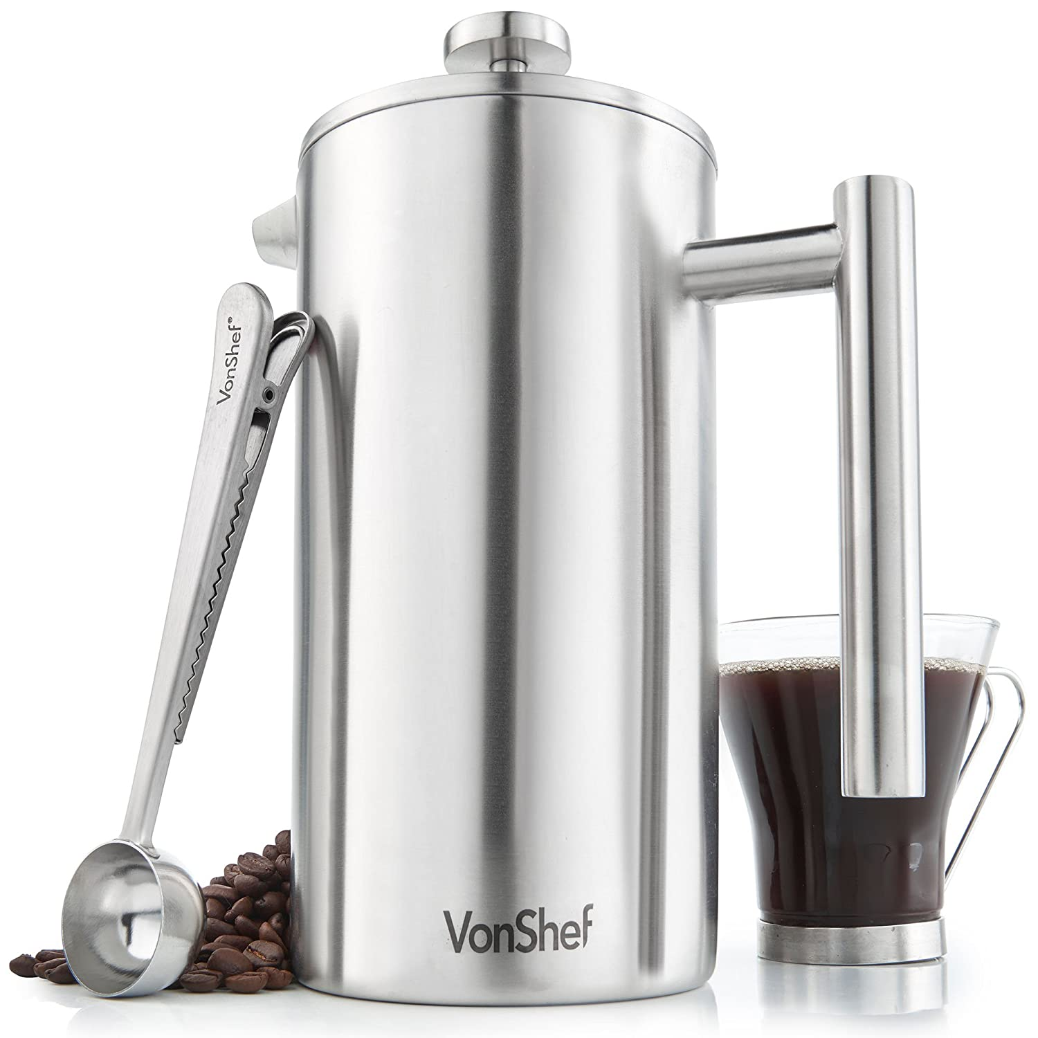 VonShef Cafetiere 3 Cup Stainless Steel Double Walled Satin Brushed Coffee Filter WITH Coffee Measuring Spoon and Bag Sealing Clip 350ml 07/265