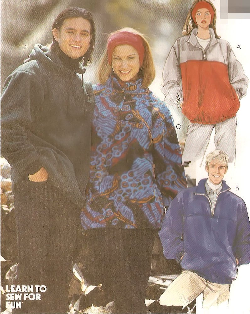 McCall's sewing pattern 7311 Men's and Misses' pullover jacket / sweatshirt / hoodie - Size S-L by McCall's