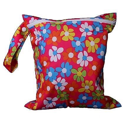Bebe Bolsa De Panales De Tela Mama Bolso Impermeable Lavable Cloth Bag Flores
