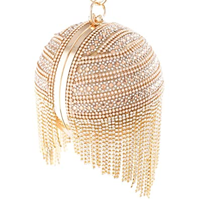 Womans Round Ball Clutch Handbag Dazzling Full Rhinestone Tassles Ring  Handle Purse Evening Bag (A