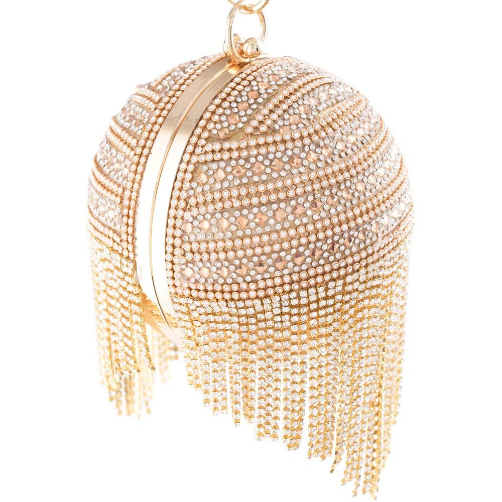 Womans Round Ball Clutch Handbag Dazzling Full Rhinestone Tassles Ring Handle Purse Evening Bag