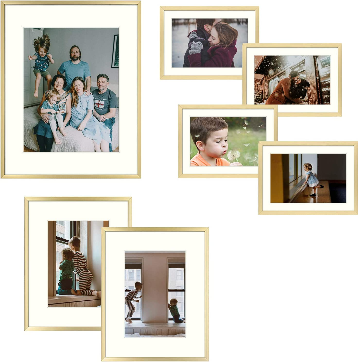 Frametory 7 Piece Gold Aluminum Wall Frame with Ivory Color Mat Set - Four 5x7 - Two 8x10 - One 11x14 - Real Glass - Swivel Tabs - Sawtooth Hangers (Gold)