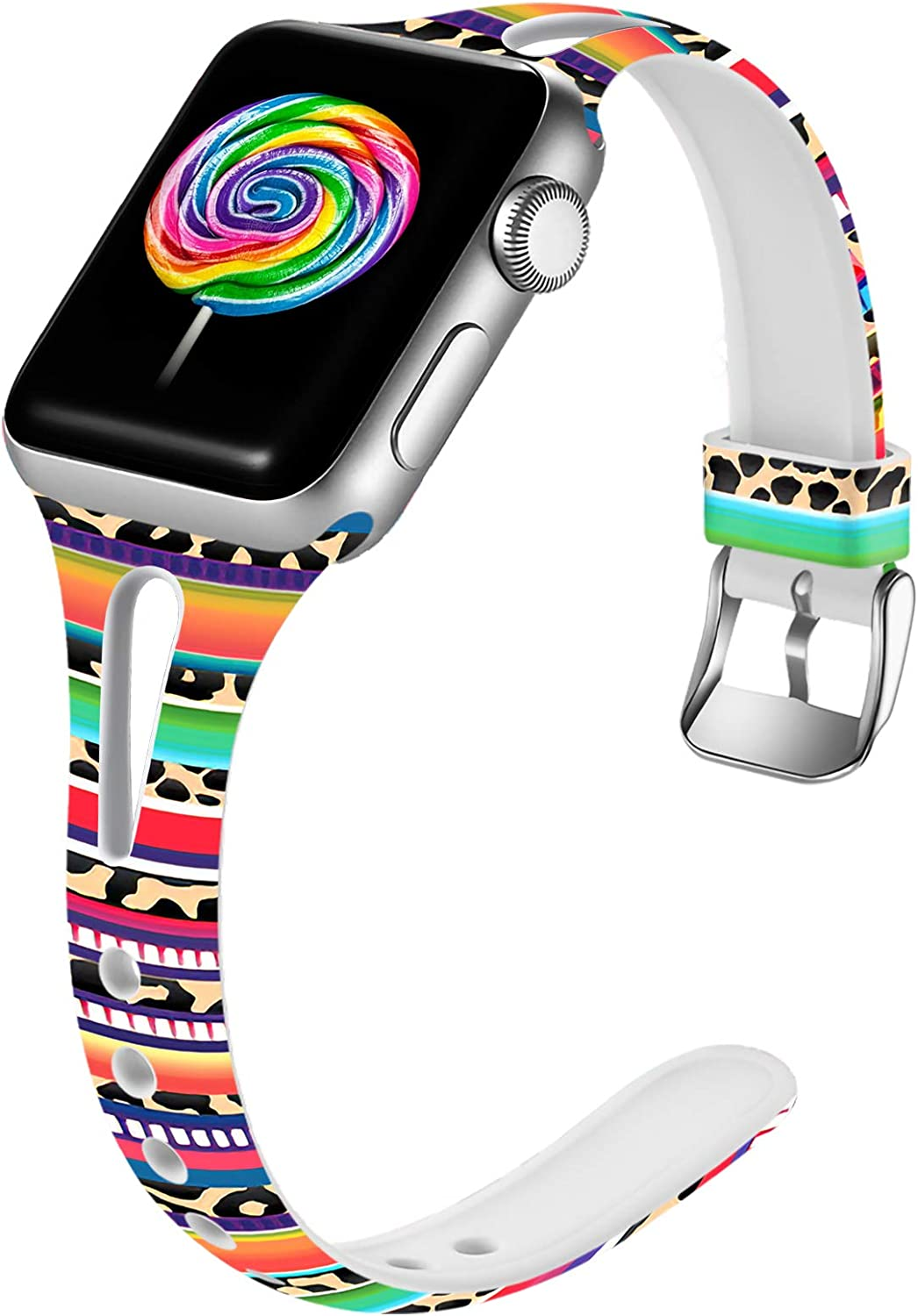 Easuny Leopard Bands Compatible for Apple Watch Series 6 Series 5 4 40mm for Women, Soft Cute Slim for Apple Watch SE 38mm Bands, iWatch Series 3 2/1 Print Silicone Thin Wristband S/M, Rainbow Leopard