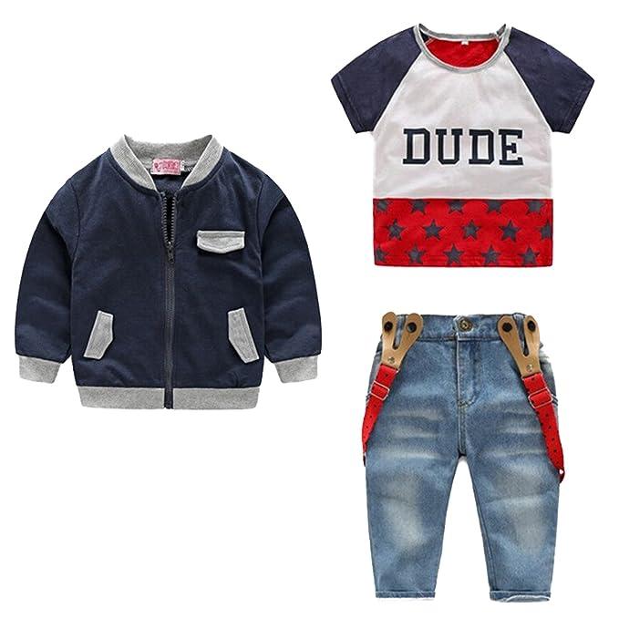 Conjunto 3 Piezas Niño Chaqueta, Jeans, Camisa 120cm: Amazon ...