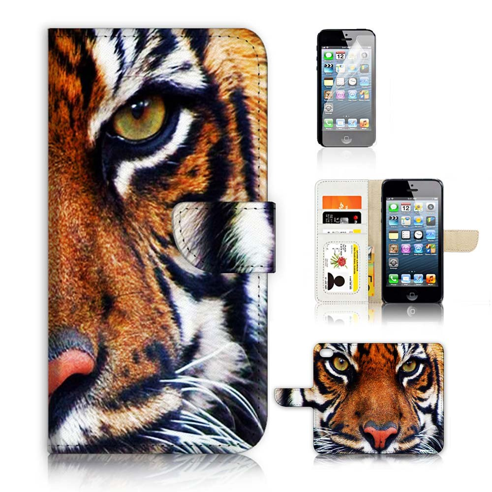 ( For iPhone 5 5S / iPhone SE ) Flip Wallet Case Cover and Screen Protector Bundle A20015 Tiger Face