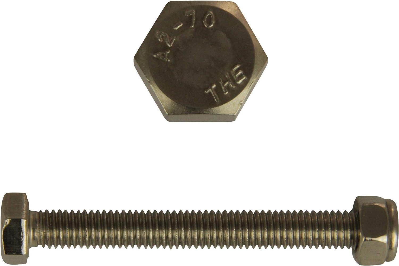 DIN 933 // DIN 985 D/´s Items/® V2A Gewindeschrauben mit Stoppmuttern - Edelstahl A2 - M6x50 Sechskantschrauben mit Vollgewinde /& Sicherungsmuttern Maschinenschrauben 100 St/ück