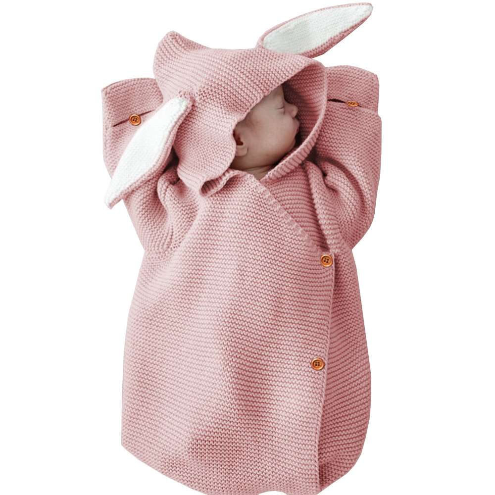 MiMiXiong Newborn Baby Knit Sleeping Bags Bunny Easter Gift Toddler Wearable Swaddle Sleep Sack (Pink-Bunny)