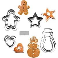 NEWLINE NY Stainless Steel 13 Pieces Cookie Mold Biscut Pastry Cutter Set, Man, Star, Heart, Snowman & a Cutter Blade