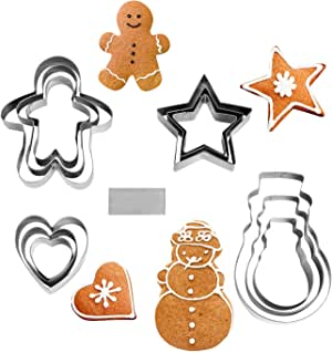 NewlineNY Stainless Steel 13 Pieces Cookie Mold Biscut Pastry Cutter Set, Man, Star, Heart, Snowman & a Cutter Blade