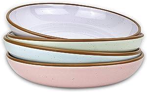 Mora Ceramic Large Pasta Bowls 30oz, Set of 4 - Serving, Salad, Dinner, etc Plate/Wide Bowl - Microwave, Oven, Dishwasher Safe Kitchen Dinnerware - Modern Porcelain Stoneware Dishes, Assorted Colors