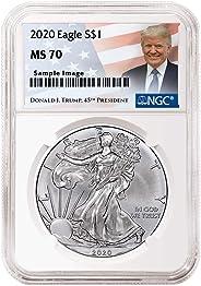 2020 - Silver Eagle Donald J Trump Label Dollar MS70 NGC