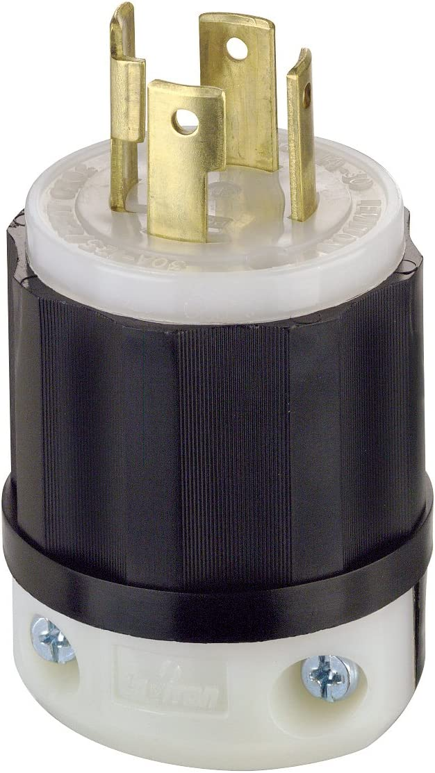 Leviton 2711 30 Amp, 125/250 Volt, NEMA L14-30P, 3P, 4W, Locking Plug, Industrial Grade, Grounding - Black-White - Electric Plugs -
