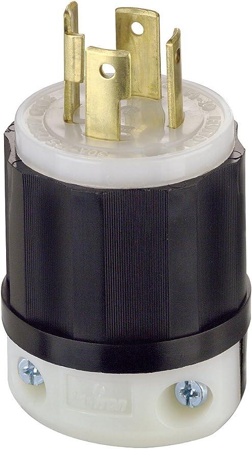 Locking Plug; Industrial Grade; Grounding, 30 Amp; 125/250 Volt ... 20a 250v plug wiring diagram Amazon.com