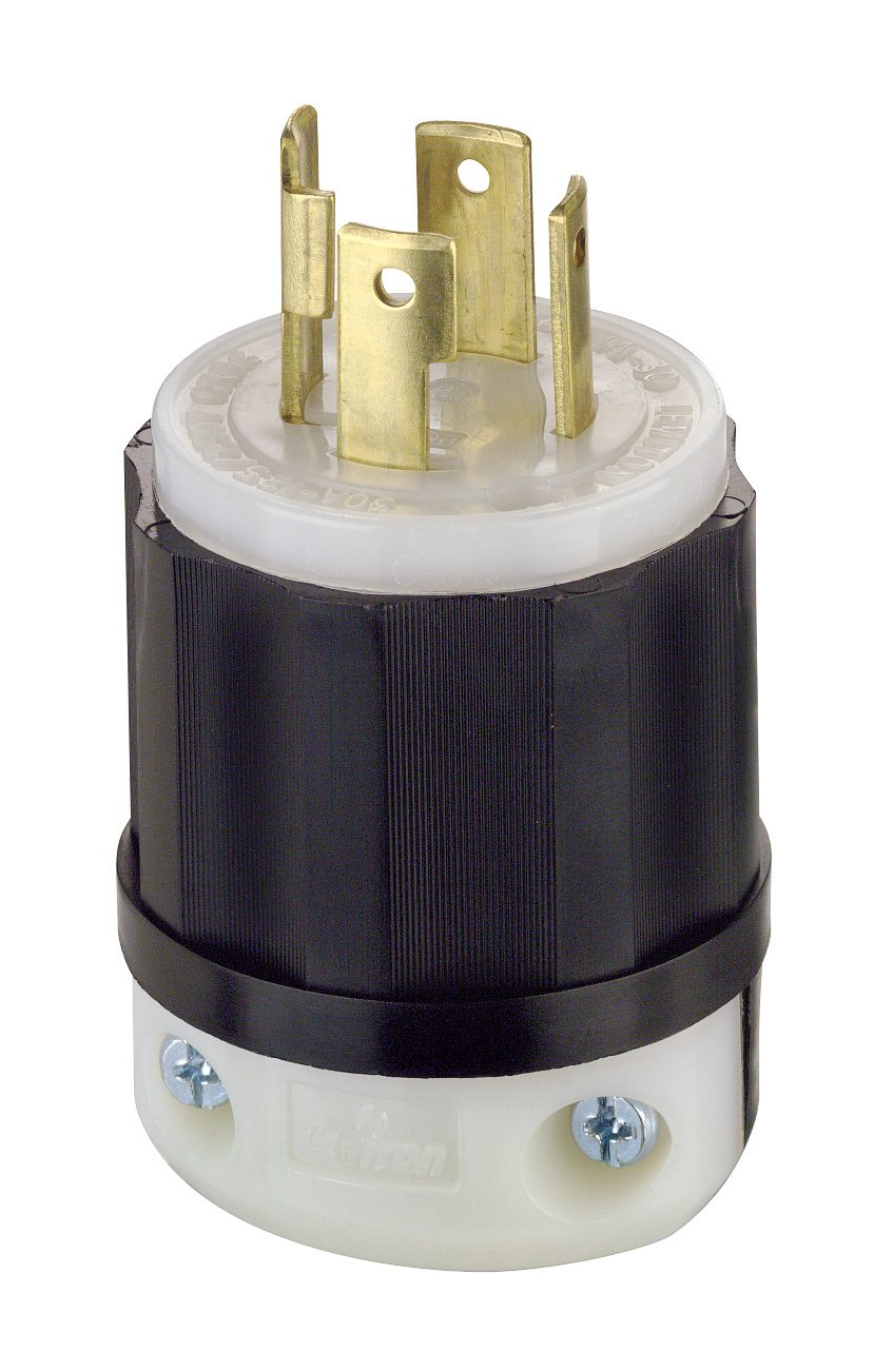 Leviton 2711 30 Amp, 125/250 Volt, NEMA L14-30P, 3P, 4W, Locking Plug, Industrial Grade, Grounding - Black-White by Leviton
