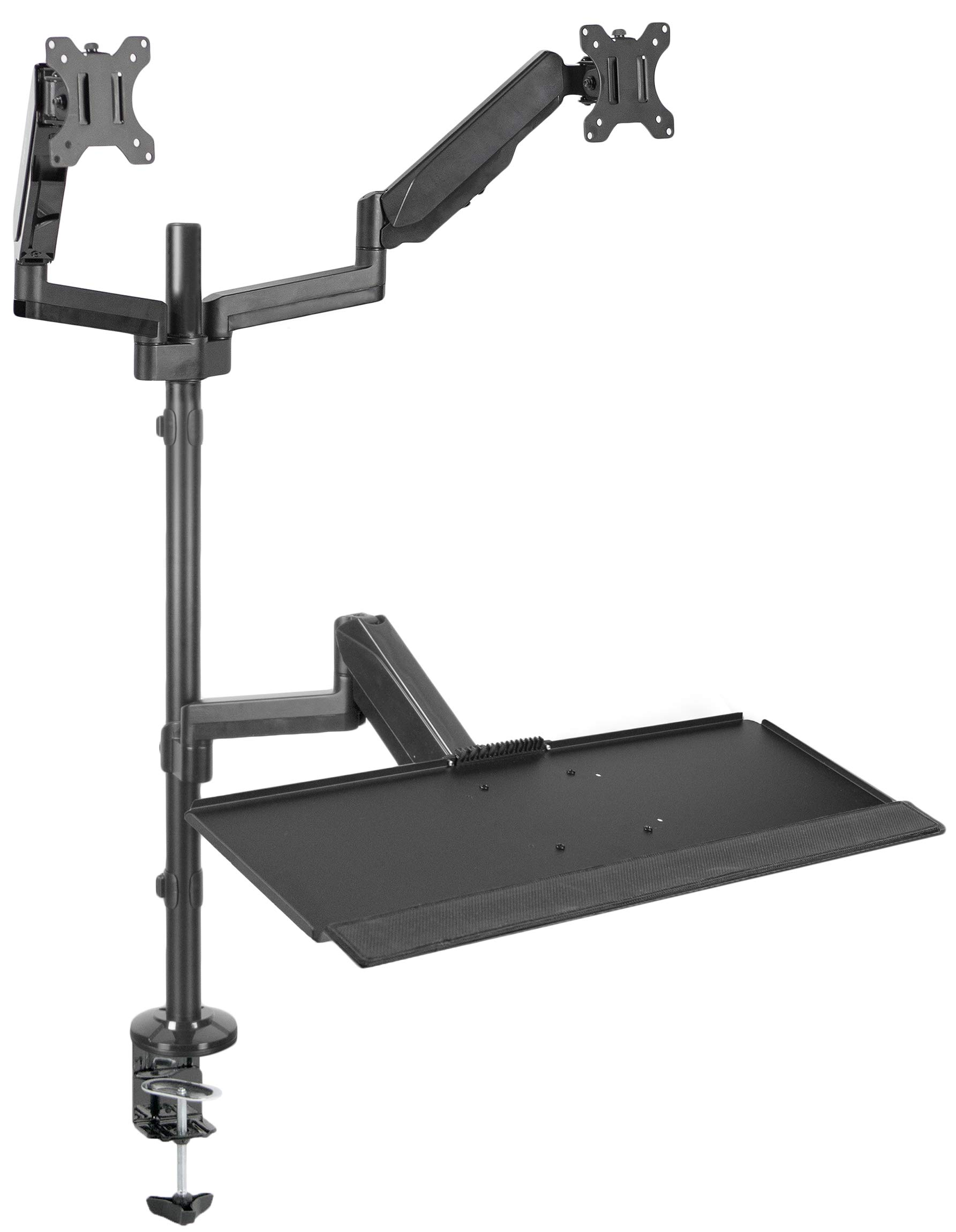 """VIVO Black Dual Monitor Sit-Stand Height Adjustable Workstation Standing Desk Mount with Tension Spring 
