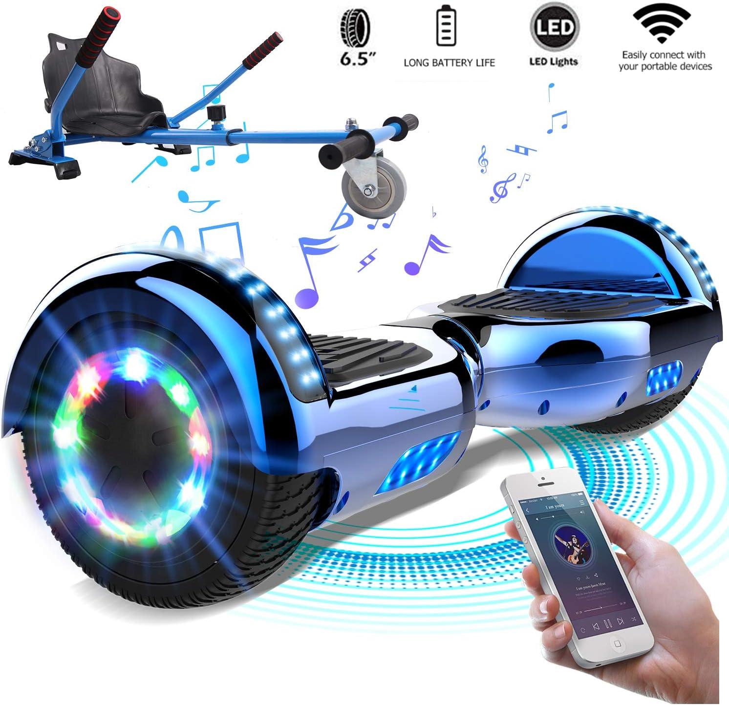 Mega Motion Monopat/ín El/éctrico 10 Pulgadas Auto-Equilibrio Scooter Monopat/ín El/éctrico-UL Certificado 2272-Altavoz y Bluetooth-LED-700W Modelo Z6