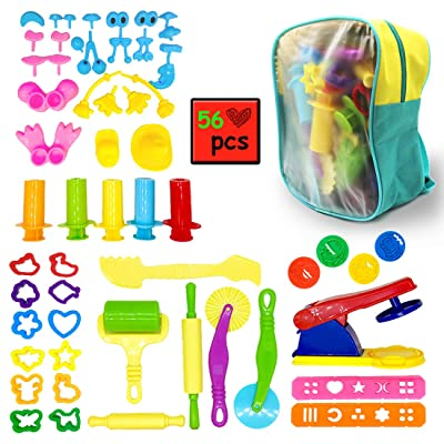 ImnBest 56 Pieces Clay Dough Tools for Kids with Molds and Extruder Tools with Packing Bag: Toys & Games