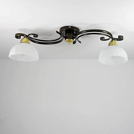 Landhaus Stil Decken Lampe Glas rund Wohn-Ess-Zimmer Leuchte rustikal Rost-Farbe