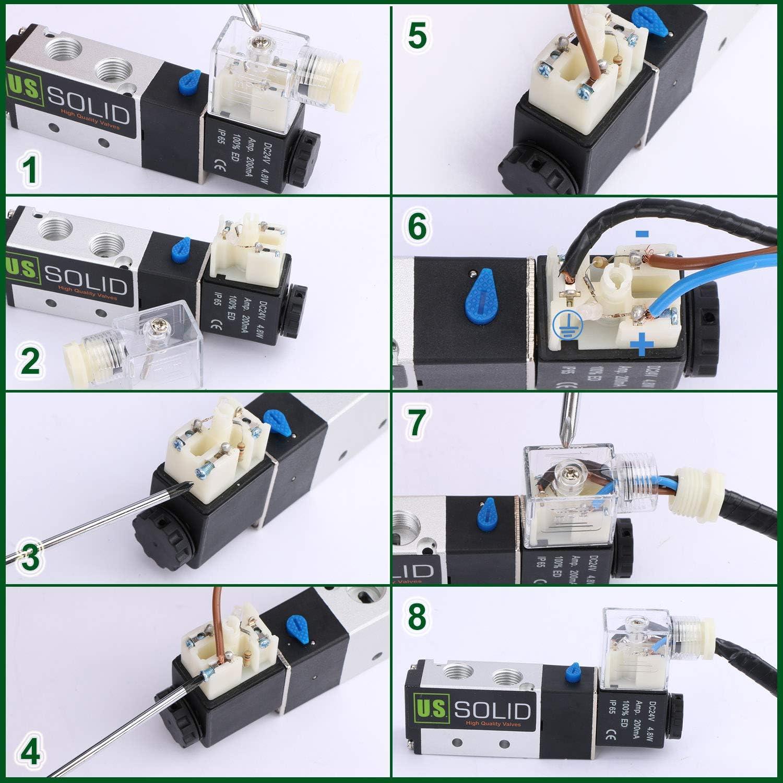 NPT 1//8 3 Way 2 Position Pneumatic Electric Solenoid Valve AC 110 V