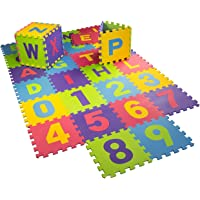 Emob® 26 Alphabets and 10 Numbers Interlocking Foam Tile Play Mat Puzzle Game with Pop Out Features