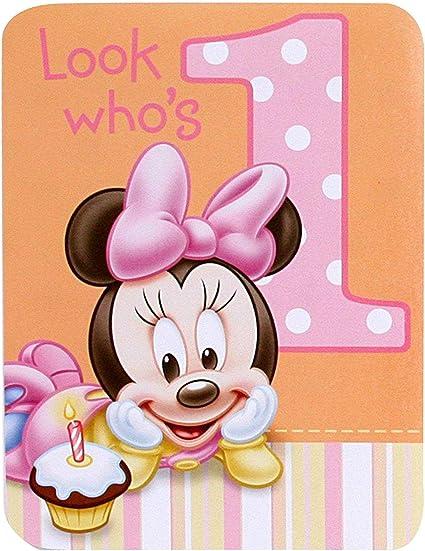 Astonishing Amazon Com Baby Minnie Mouse 1St Birthday Invitations 8 Pkg Birthday Cards Printable Benkemecafe Filternl