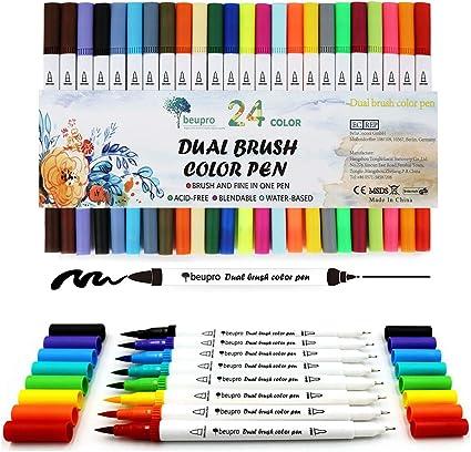 UK! STA Watercolour Pens 2mm 12 Colours Aquarelle Water Based Fibre Brush